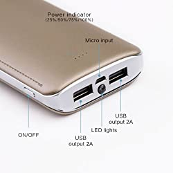 Uimi U8 15600 mAh Li-ions DUAL Output ports powerbank with Torch light & indicative LED ( Golden)