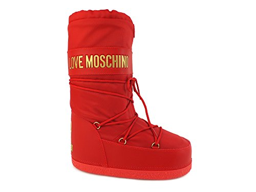 LOVE MOSCHINO moon boot donna stivali sci neve TESSUTO ROSSO RED 39