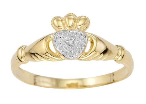 9ct Yellow Gold Ladies' Diamond Set Celtic Claddagh Ring Size M