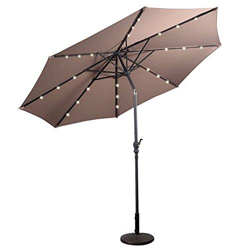 10 ft Umbrella Solar LED Patio Garden Outdoor Market Steel Tilt W/Crank, Tan (Stand not included)