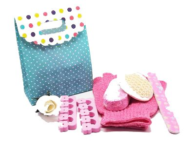 5 piece beauty set in a polka dot tab top box gift bag (exfoliating gloves, pumice stone, emery board, toe seperator & facial sisal pad) - beauty