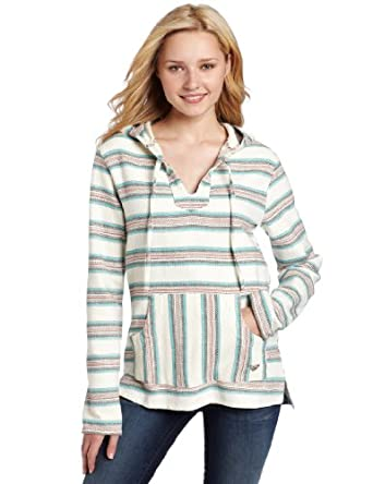 Roxy Juniors Tequila 2 Stripe Pullover, Natural Stripe, X-Small