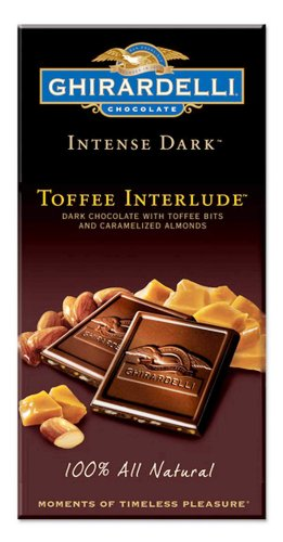 Ghirardelli Chocolate Intense Dark Toffee Interlude Dark Chocolate with Toffee Bits and Caramelized Almonds, 3.5-Ounce Bars (Pack of 6)