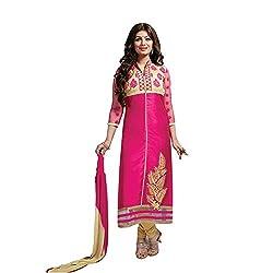 KMOZI Latest Pink Cotton Straight Cut Salwar Suit