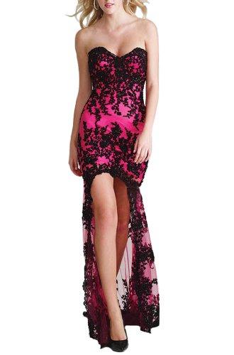 Women's Sexy High-low Strapless Dress E7620 (XXL, Rose)