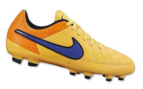 Nike Jr Tiempo Genio Leather Ag Stivali, Arancione/Blu/Nero, 37.5