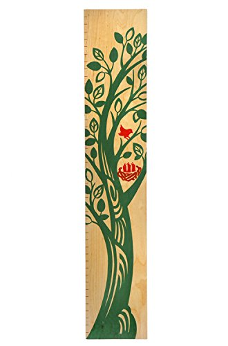 The Growing Tree Kids Wall Hanging Wood Growth Chart | Children's Height Chart for Boys & Girls (English Green)
