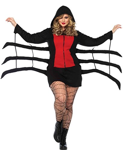 Leg Avenue Plus Size Cozy Black Widow Halloween Costume - Black/Red - 3X-4X ()