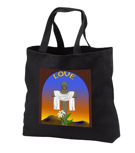 777images Designs Christian - Graphic design of a window with cross, lily and white Jesus robe - Tote Bags