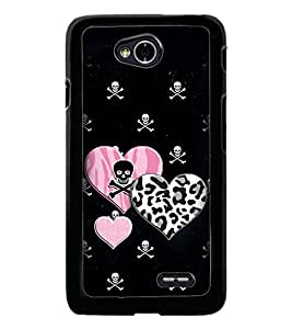 PrintDhaba Heart with Skull D-1966 Back Case Cover for LG L90 (Multi-Coloured)