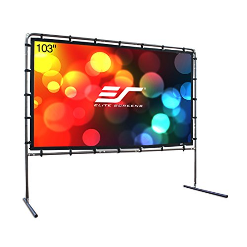 Elite Screens Yard Master Series, Outdoor Portable Light Weight Movie Screen, Rear Projection, 123-inch 16:9, OMS123HR