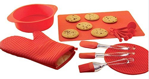 Kitchen Colllection Red Silicone Bakeware Set of 12 with Spatula Basting Brush Oven Mitt Round Cake Pan Measuring Spoon Set Non Stick Oven Liner Trivet Awesome Christmas Gifts for Her