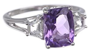 Sterling Silver Cushion Cut Amethyst and White Topaz 3-Stone Ring, Size 7