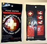 Pure Wipes Hand and Face Wipes - Kills Flu Virus - Black Package - 3 Packs = 108 Wipes