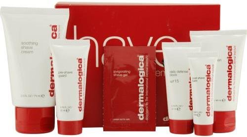 Dermalogica Men Shave System Kit Gift Set Scrub & Pre Shave Guard & Shave Cream & Post Shave Balm & Daily Defense Block 5 pcs
