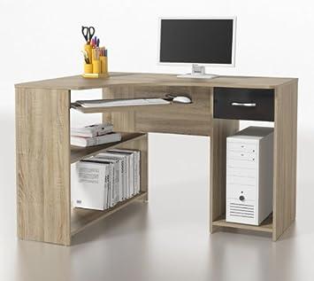eckschreibtisch schreibtisch pc tisch p1ds0m14 sonoma eiche schwarz us171. Black Bedroom Furniture Sets. Home Design Ideas