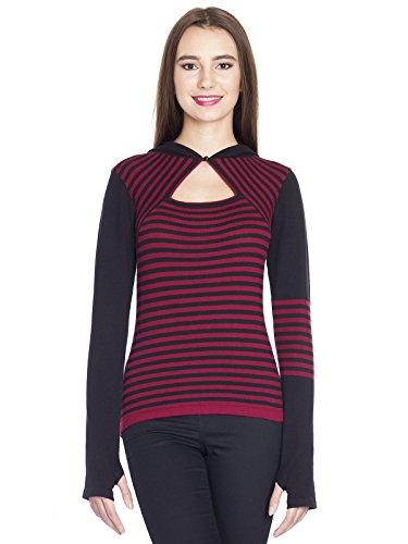 Pussy Deluxe Built in Warmer Stripes Knit asyme Electric-Felpa con cappuccio rosso/nero multicolore XS