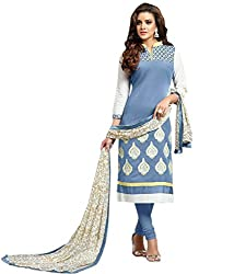 Siya Fashion women's Chanderi Party Wear Unstitched Dress Material(si709_Grey color)