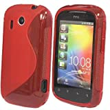 HTC Explorer A310e S Line Silicone Gel TPU Red Transparent Case Cover Free Screen Protector- Part of JJOnlineStore Accessories