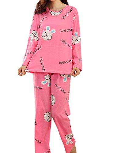 VENTELAN Women Glasses Rabbit Pattern Sleepwear Long Sleeve Brief Pajamas Set