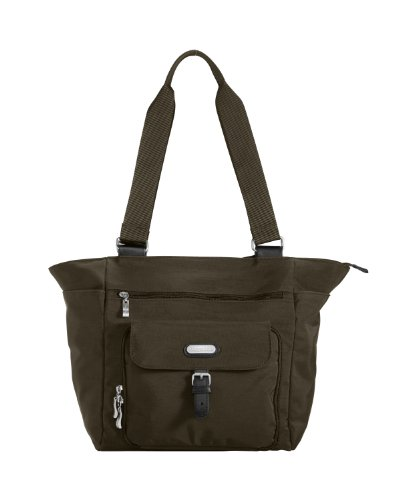Baggallini Town Tote- Solid Nylon Crinkle,Dark Olive,One Size
