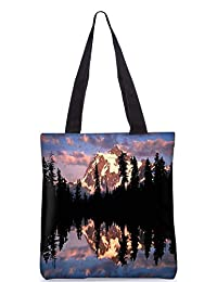 Snoogg Abstract White Hill Top Digitally Printed Utility Tote Bag Handbag Made Of Poly Canvas