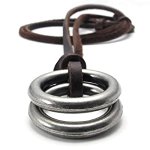 KONOV Jewelry Vintage Style Alloy Double Ring Pendant Adjustable Genuine Leather Mens Necklace Chain (with Gift Bag)