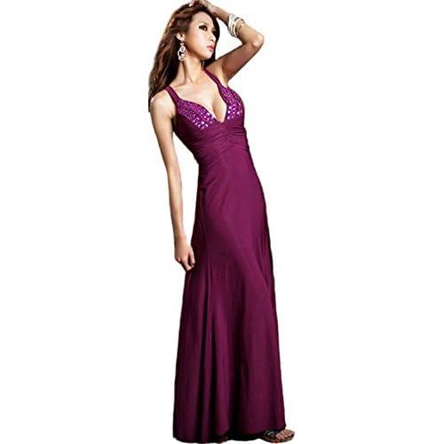 ロングドレス キャバドレス ビジュー付き パーティドレス (パープル)