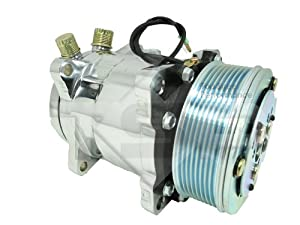 Top Street Performance HC5004C A/C Compressor with Silver Clutch (Chromed Serpentine-Belt Sanden 508 R134A Type)