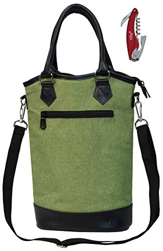 Vina 2-Bottle Wine Picnic Totes Bag, Stylish Champagne Side Carry Bag, Portable Food Thermal Insulated Cooler Case, Elegant Green (Portable Champagne Cooler compare prices)