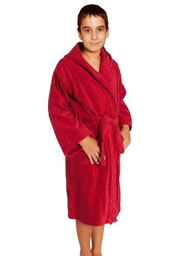 Terry Loop Bathrobe 100% Cotton Towel Red Kids Hooded Robe, Girls & Boys, Size L