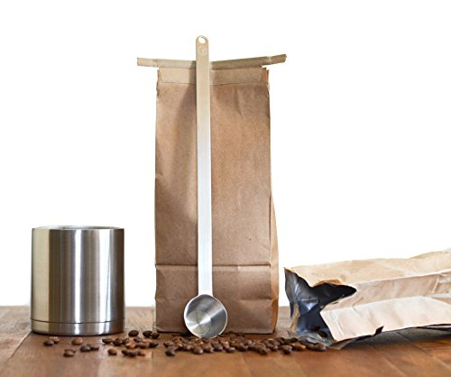 """11.5"""" Extra Long Coffee Scoop - 1 Tablespoon - Premium Grade 18/8 Stainless Steel - Reaches Bottom of Coffee Bags"""