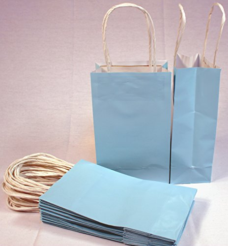 "24 Baby Blue Small Paper Gift Handle Bags Approx. 5.25"" X 3"" X 8.5"" Size Shopper Wedding Wholesale Lot front-1025514"