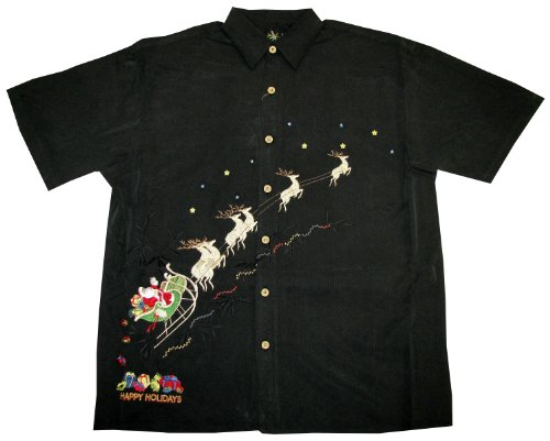 Aranco Bamboo Cay Men's Flying Santa Sleigh Reindeer Embroidered Shirt