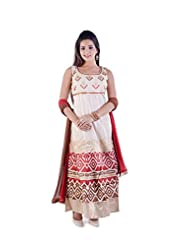 Sharmili Womens Chanderi Fabric Ready-To-Wear Anarkali Salwar Suit