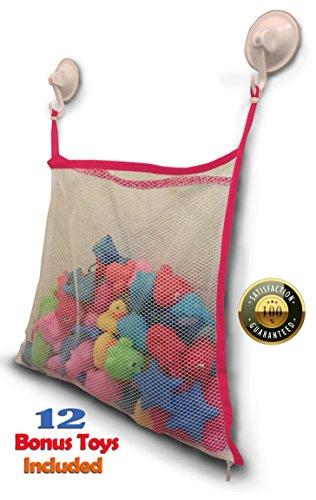 Bath Toy Organizer + 12 BPA-Free Bonus Baby Toys - Extra Large Mesh Net Storage Bag - Innovative Bottom Zipper and Hook Reinforcement - Pink