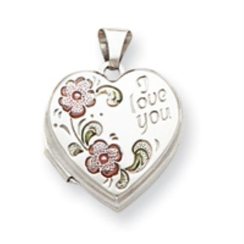 Sterling Silver Floral I Love You 18mm Heart Locket Real Goldia Designer Perfect Jewelry Gift for Christmas