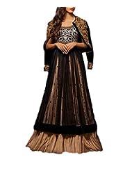 CrazeVilla Women Georgette Floor Length Long Anarkali Suit (Black_Free Size)