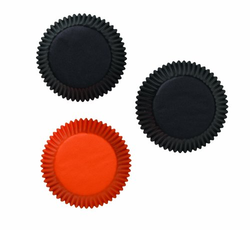 Wilton Standard Baking Cups, Assorted Black and Orange, 75 Count