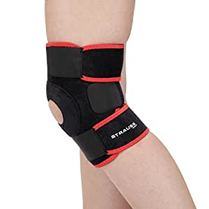 Strauss Adjustable Knee Support Patella, Free Size (Black)