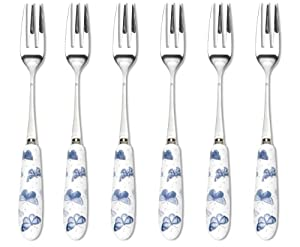 Portmeirion Botanic Blue Pastry Forks, Set of 6