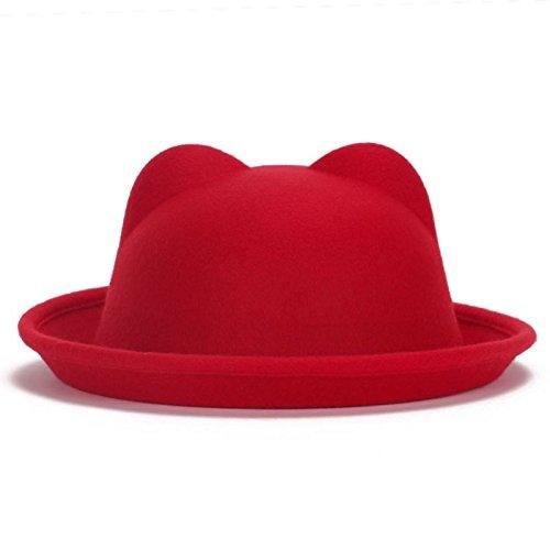 Vyage (TM) delle donne della signora di moda di lana Horn padre-figlio Bowler cappelli di Fedora Derby dell'orecchio di gatto Beach Cap