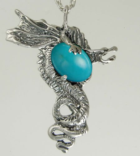 The Warrior Dragon in Sterling Silver Accented with Genuine Turquoise