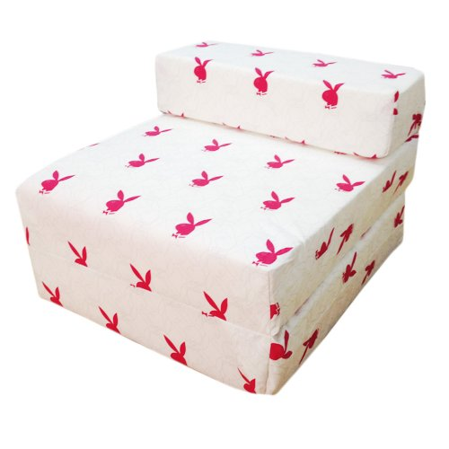 Comfortable Easy Store Fold Out Z Bed Guest Mattress in White Playboy Design. Foldable, Comfortable & Lightweight with a Removeable Cover