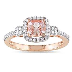 10K Rose Gold Morganite and Diamond Ring (.2 Cttw, G-H Color, I1-I2 Clarity), Size 7