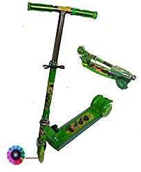 3 Wheel Kids Kick Scooter with LED Lights on Wheel (Green Color)