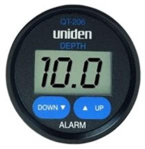 Uniden QT-206W Digital Depth Finder In-Hull Adjustable Transducer, Black