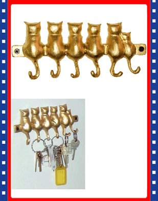 New Cute Brass Kitty Cat Tail 6 Key Hanger Hooks Rack