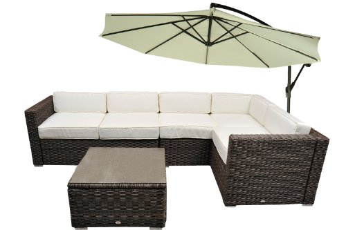4 Pc Outdoor Patio Round PE Round Rattan Wicker Sofa Sectional Garden Furniture Set