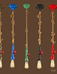 YanCui@ E26/E27 Max 60W Vintage Pendant Lights/Waterpipe and Rope Design/ Coffee Bar/Restaurant Lights , 110-120v-blue